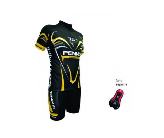 Conjunto Penks Camisa Bermuda Speed Biking Preto Amarelo