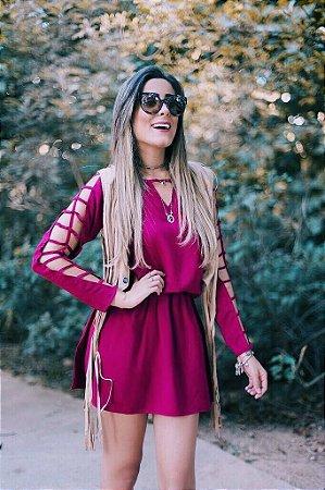 Vestido Marsala Com Recortes