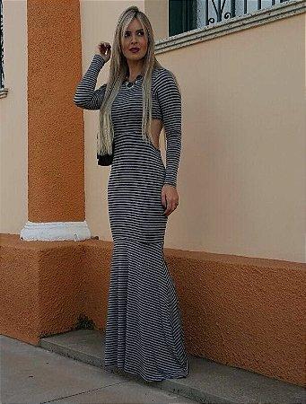 Vestido Longo Sereia - Listrado