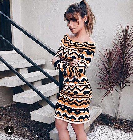 Vestido Tubinho De Tricot - Geométrico