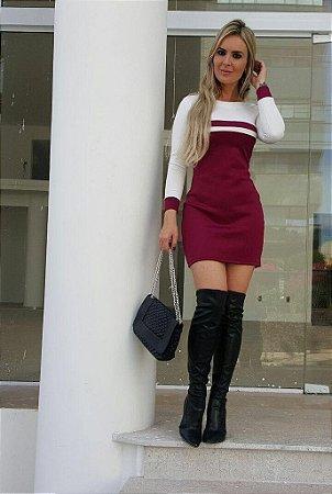 Vestido Curto Bicolor - Manga Longa