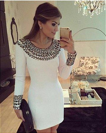Vestido Tubinho Pedraria Bordada - Off White