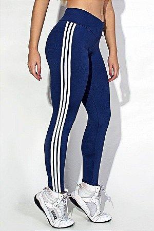 Calça Legging com Listras (Azul Marinho / Branco)