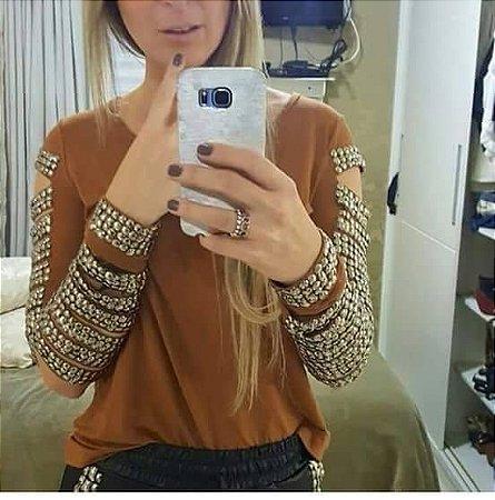 Blusa Caramelo Pedrarias Manga Longa