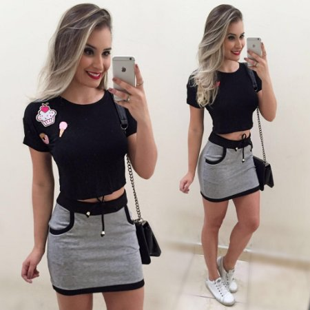 Conjunto Cropped Patch Cupcake + Mini Saia