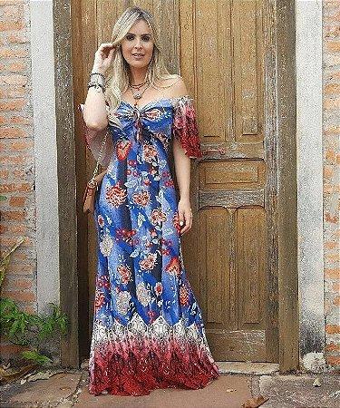 Vestido Longo Floral Ciganinha