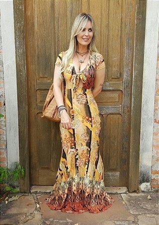 Vestido Longo Floral - Manga Curta