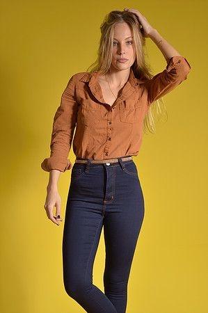 Calça Jeans Flare Com Bolso