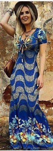 Vestido Longo Estampa Calçadão Copacabana