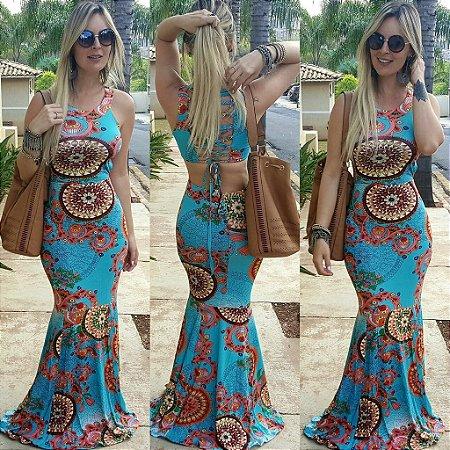 Vestido Longo Sereia Azul Claro