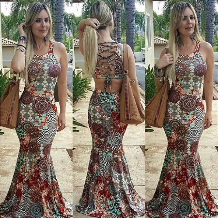 Vestido Longo Sereia Com Amarração