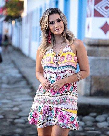 Conjunto Regata + Saia Evasê Amarelo & Pink Floral