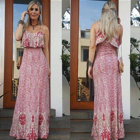 Vestido Longo Tons Vermelho & Rose