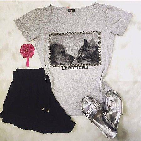 T-Shirt Mescla Cão & Gato