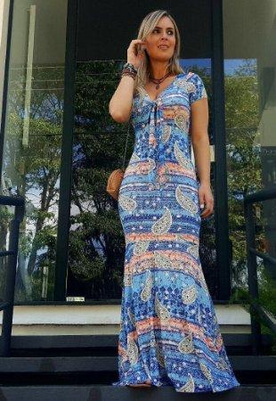 Vestido Longo Amarração Frontal Azul & Rose