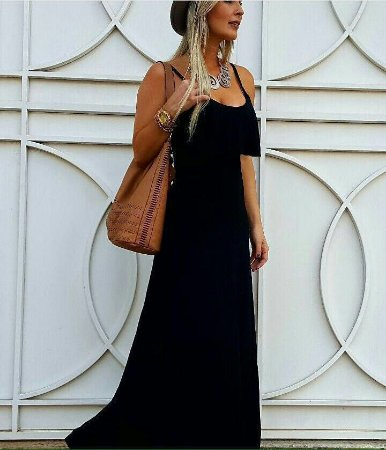 Vestido Longo Com Babado Aplicado - Preto