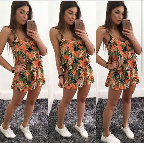 Conjunto Floral Cropped & Short