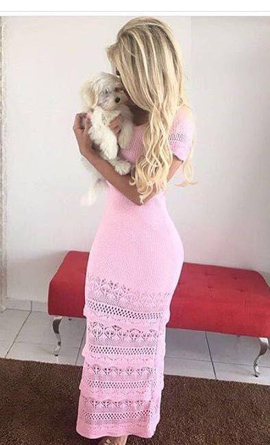 Vestido Longo Tricot Rosa Bebe