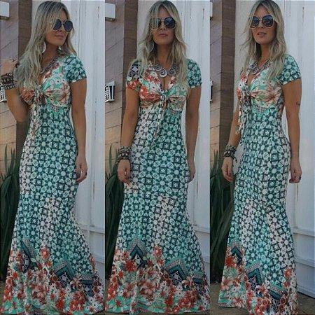 Vestido Longo Barrado Flores