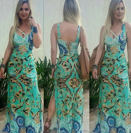 Vestido Longo Floral Maxi Botão - Loren