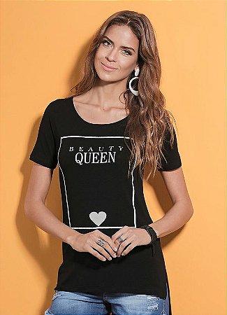 T-Shirt Quintess Mullet Preta com Estampa