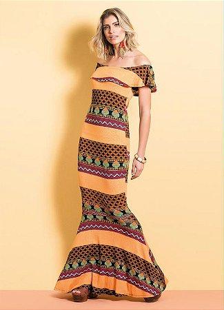 Vestido Longo Sereia Quintess Étnico