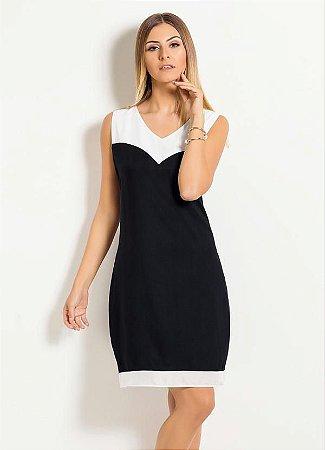 Vestido Quintess Clássico Preto e Off White