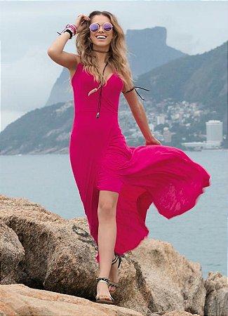 Vestido Longo com Fenda Transpassada Pink