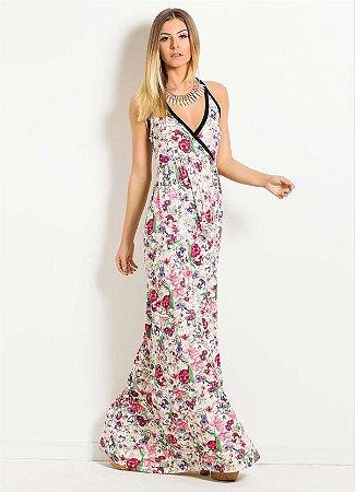 Vestido Longo Floral Quintess Frente Única