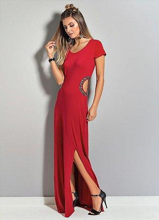 Vestido Longo Quintess Vermelho com Aplicações