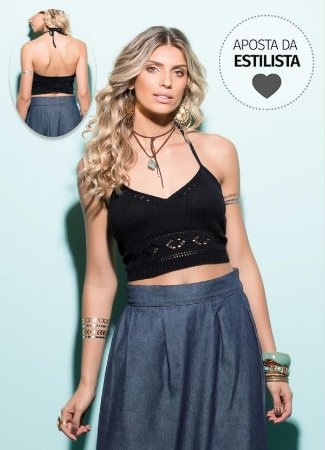 Top Cropped de Tricô Preto
