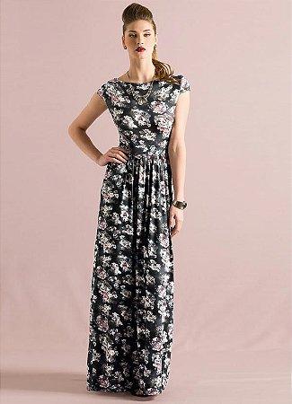 Vestido Longo Quintess com Manguinhas Floral