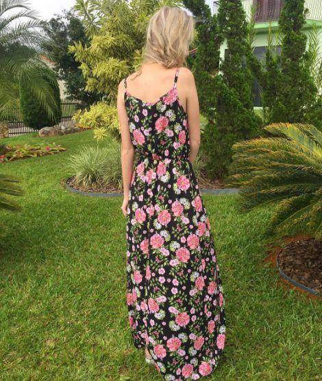 Vestido Longo Floral - Preto & Rosa - In Love