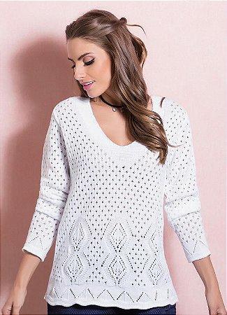 Suéter em Tricô Detalhado Quintess Branco
