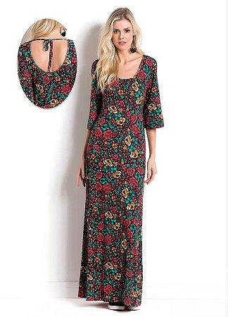 Vestido Longo Floral Quintess com Amarração
