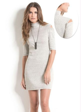 Vestido Gola Alta Mescla Quintess Ombros Vazados