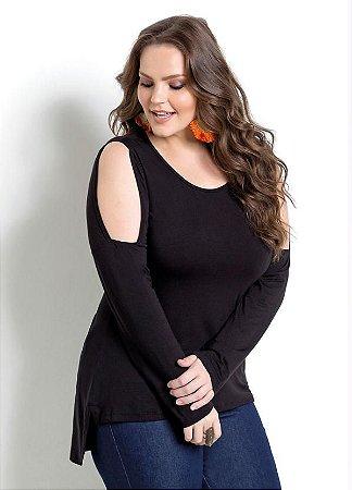 Blusa Mullet Preta Vazada Quintess Plus Size