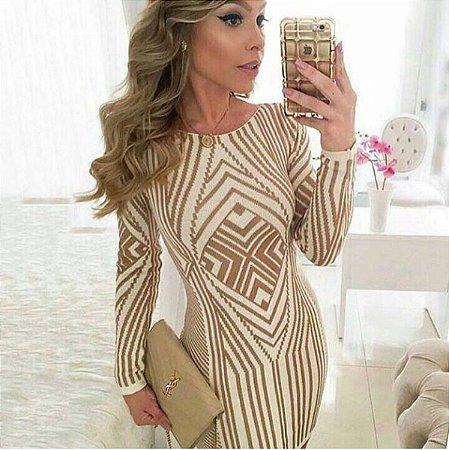 Vestido Tricot com Detalhes Geométrico