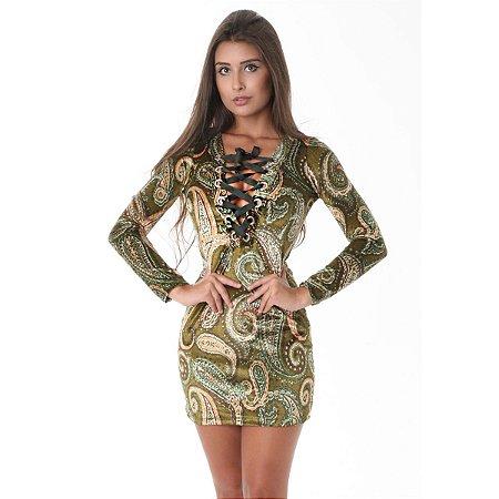 Vestido Pitanga Veludo Decote Trançado Verde
