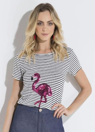 Blusa Listrada e Flamingo em Lantejoula Quintess