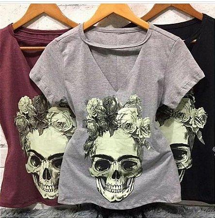 T-shirt Choker Caveira Flowers