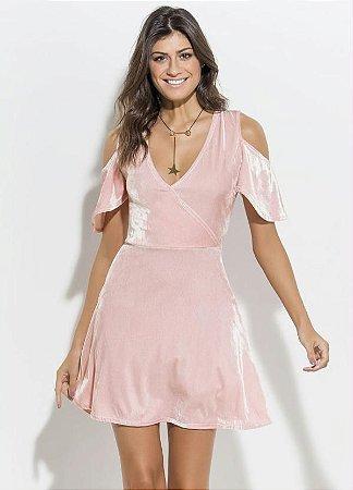 Vestido Rosa em Veludo e Transpasse