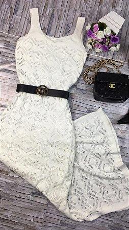 Vestido Longo Tricot Branco