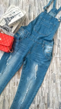 Jardineira Longa Jeans