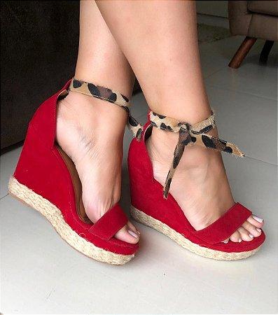 Sandália Coleção Fashion Onça com Vermelho