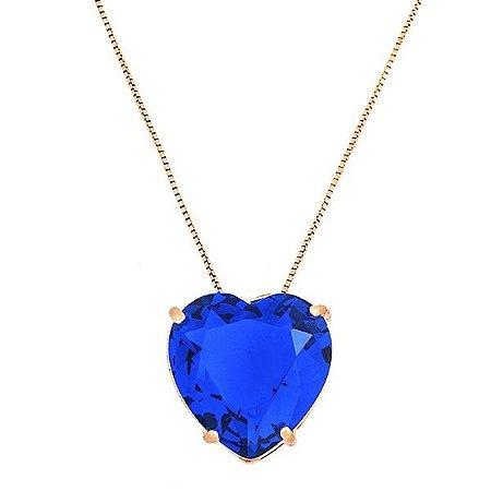 Colar Coração Azul Royal