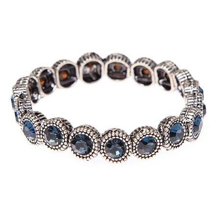 Pulseira Prata Cristal - Azul