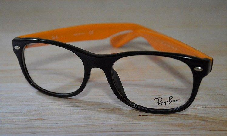 Óculos para Grau - Rayban - Preto e laranja