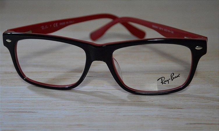 Óculos para Grau - Rayban - Preto e vermelho