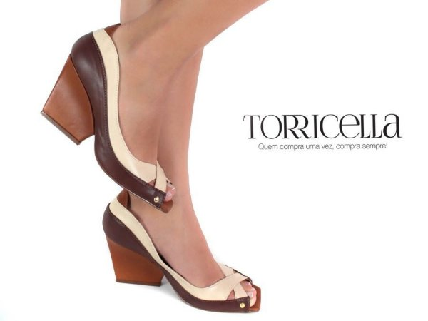 Sapato Peep Toe - Marrom e Creme